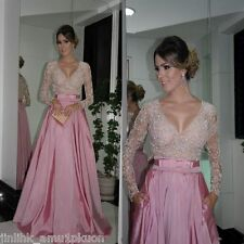 Pink Long Prom Gown Formal Pageant Sheer Beading Long Sleeve Evening Party Dress