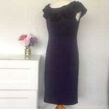 Per Una M&s Size 12 Purple Dress Ruffle Wedding Smart Party Cruise b6