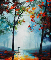 ZWPT350 abstract 100% hand-painted village landscape art oil painting on canvas