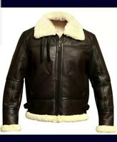 Men's Aviator Pilot RAF B3 Flying Bomber Fur Lambskin Leather Jacket Shearling