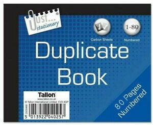 Half Size Duplicate Receipt Book Numbered Cash 1 - 80 Pages Pad Carbon Invoice