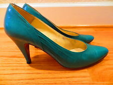 Telina Womans Classic Pumps Leather High Heels Shoes Size 6.5 M Teal Green