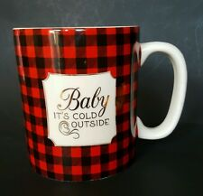 Buttercream Holiday Christmas Coffee Mug Cup Red Plaid Black Baby Cold Outside