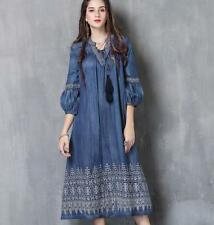 designer ladies embroidered long sleeve denim loose long dress boho dress