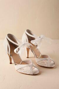 BHLDN Rachel Simpson Almeria Bridal Organza Ribbon Lace Heels Size 37