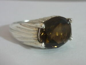Stunning Rare Vintage Mexican Large Smoky Quartz & Sterling Silver Ring Size R