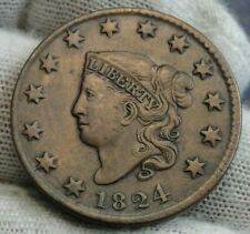 1824 Penny Coronet Large Cent - N-4 R-2, Nice Coin, Free Shipping (9529)