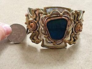Brass and Copper heavy ornately detailed Onyx cuff bracelet