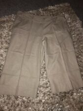 ladies beige linen cropped trousers size 18