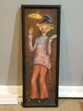 Vtg 1962 Oil On Canvas  Clown Painting Art Is It Still Raining Rita Golden MCM