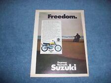 """1969 Suzuki TC-120 Cat Vintage Color Ad """"Freedom"""""""