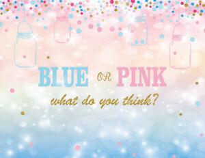 Blue or Pink Gender Reveal Baby Shower 7X5FT Vinyl Studio Backdrop Background LB