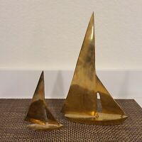 Vintage Mid Century Brass Boat Figurines Nautical Decor Paperweight Pair
