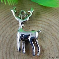 Vintage Silver Alloy Animal Musk Deer Reindeer Charms Pendants Craft 50946 30pcs
