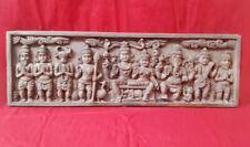 Vintage Hindu God Vishnu Lakshmi Nandi Wall Panel Wooden Temple Statue Sculpture
