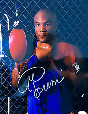 George Foreman Signed Speed Bag Training 11x14 Photo JSA