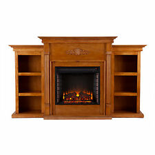 JFP34558 3PCS GLAZED PINE ELECTRIC FIREPLACE WITH SIDE BOOKCASES SET