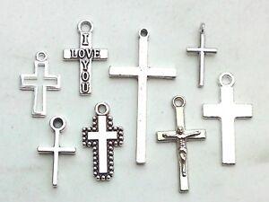 8x Anhänger-Set Kreuz Charms Kruzifix Religion Glaube Kreuze Schmuck Basteln Neu