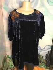 LaBellum by Hillary Scott Plus 2X Blue Velour Sequin Short Sleeve Tunic Top
