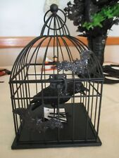 NWT! Beautiful Bat Themed Metal Cage w/Raven~Halloween Prop/Decoration-Opens!