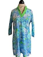 Lilly Pulitzer Dress Size Small Sz S Shift Tunic Chesterfield  Blue Green Sleeve