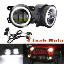 "Black Bezel 60W 4"" CREE Round LED Fog Lights w/ Wiring For Jeep Dodge Chrysler"