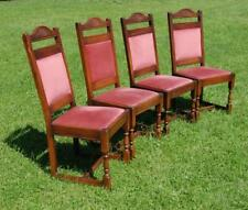Quality! Wood Bros 'Old Charm' Set of Four Tudor Rose Oak Dining Chairs