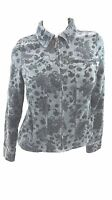 CHARTER CLUB WOMENS BLUE VELVET STRETCH COTTON CROPPED JACKET SIZE S