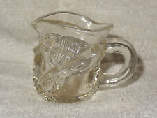 Small Clear Glass Man Smoking A Pipe Creamer or Toothpick Holder