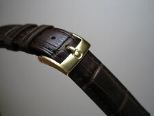 18MM BROWN LEATHER BAND YELLOW GOLD SMALL LOGO BUCKLE FOR OMEGA WATCH