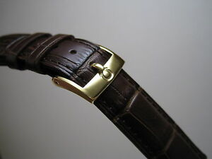 18MM BROWN LEATHER STRAP BAND YELLOW GOLD SMALL LOGO BUCKLE FOR OMEGA WATCH