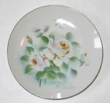 Vintage Enesco Hand Painted floral Plate/Dish White Roses artist signed