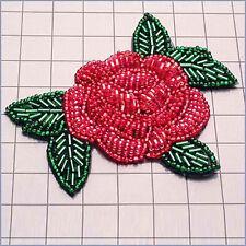 DESIGNER ROSE FLOWER BEADED APPLIQUE 2444-E