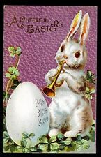 Easter Bunny Plays Bugle 1910 Fantasy Postcard HORN