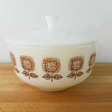 Vintage Mid Century Federal Golden Sunflower 2 1/2 Qt Covered Casserole- Retro