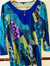 CABLE & GAUGE STUNNING 3/4 SL LONG LINE TOP, SZ L (14-16), w STRETCH RRP $79.95!
