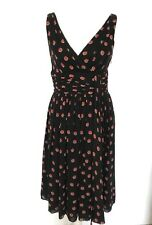 Temperley London Kalidora Dress Black Red Dots V Neck New With Tags £620 UK 12