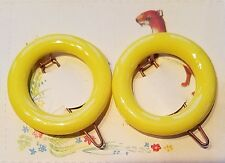 Vintage Hair Barrettes - Bright Yellow Round Barrettes, Made in England
