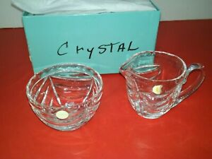 TIFFANY AUTHENTIC SUGAR AND CREAMY CRYSTAL SET SIGNED NEW NEVER USED 1/2 BOX