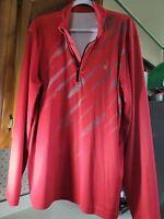 SPYDER 1/4 Zip Cob Web Design Long Sleeve RED Shirt Men's Size-XXL
