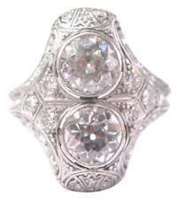 Art Déco Vecchio Europeo Taglio Diamante Platino Cocktail Anello 3.05Ct PT950