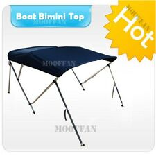 Marine Blue 3 Bow 6 ft Boat Bimini Top 600D Canopy Cover Aluminum Poles MB3N1