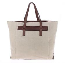 NEW $900 DOLCE & GABBANA Brown Tote Bag Linen Leather Gym Travel Shoulder Hand