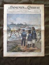 La Domenica del Corriere 3 Agosto 1913 Spiaggia Gombo Incendio Scuola a Bergamo