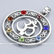 7 Chakra Crystal Gemstone Bead Charms OM Symbol Yoga Healing Pendant Necklace