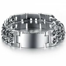 22MM Wide Polished Stainless Steel Flat Curb Link Chain Bracelet Mens ID Bangle