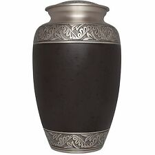 Brown, Silver Flower band - Brass Funeral Cremation Urn,  Adult, 200 cubic in.