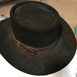 Jon B. Stetson 4X beaver hat vintage SZ7 black brown leather Tooled Band/buckle
