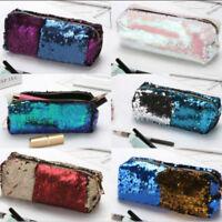 Glitter Sequin Pencil Case Cosmetic Makeup Coin Pouch Storage Zipper Purse Bag