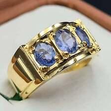 14k Gold Plated Band Mens Sapphire Ring Unheated Ceylon Sapphire Handmade Ring